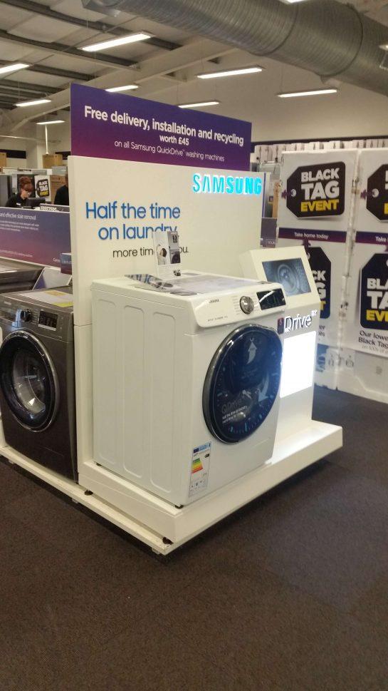 washing machine display at currys